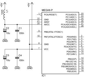 Przykład odsprzęgania zasilania mikrokontrolera ATmega8.