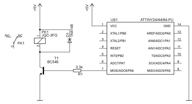 Przykład sterowania przekaźnikiem z mikrokontrolera.