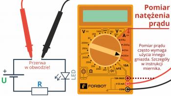 Szeregowe wpięcie miernika i pomiar prądu płynącego w obwodzie