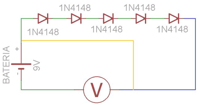 Schemat do zadania domowego 6.1. Łączenie szeregowe diod.
