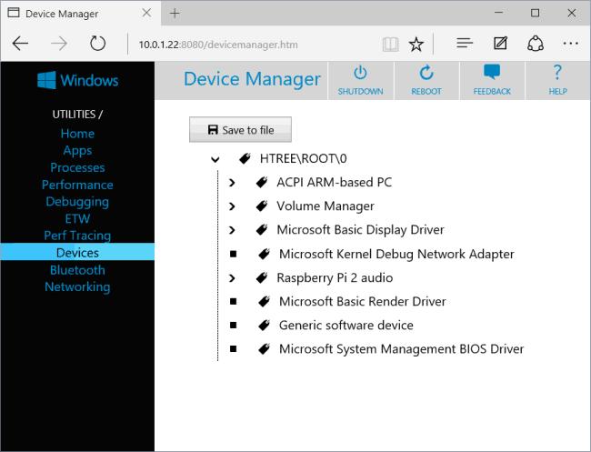 Menadżer Windows 10 IoT, zrzut z hackaday.com
