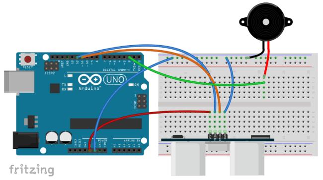 Schemat montażowy - buzzer i Arduino.