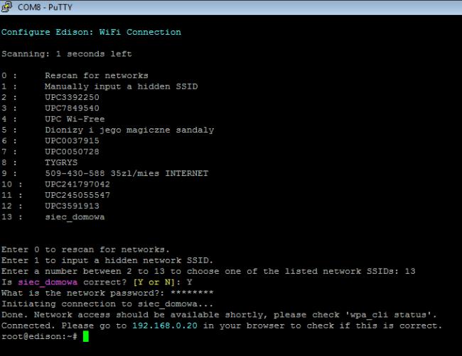 Konfiguracja WiFi na Intel Edison.