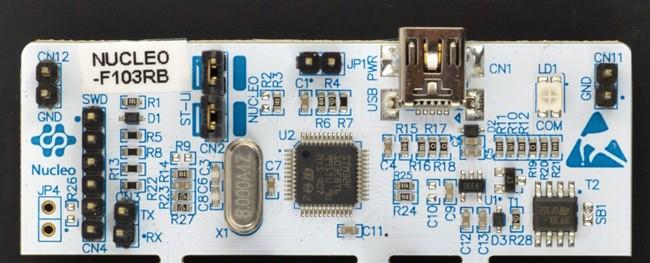 Część płytki będąca programatorem i przejściówką UART.