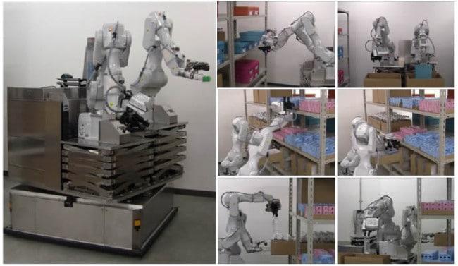 Praca robotów w magazynie.