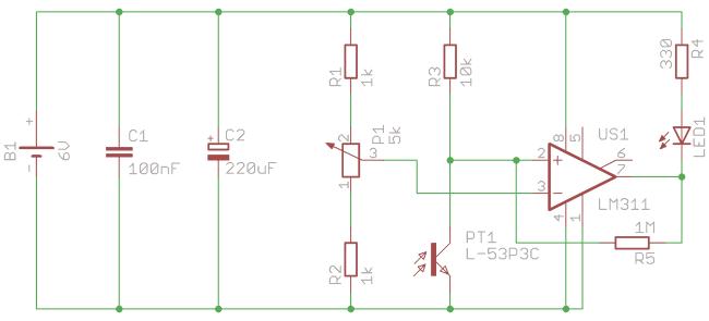 Schemat detektora światła na fototranzystorze.