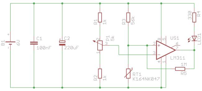 Schemat detektora przekroczenia temperatury