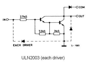 Pojedynczy driver układu ULN2003