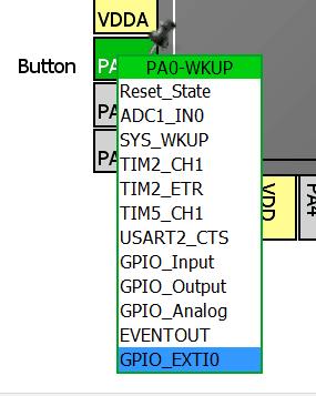 Konfiguracja pinu w trybie przerwania zewnętrznego