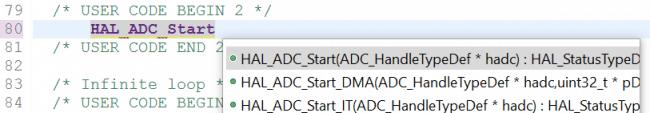 Funkcje pozwalające na rozpoczęcie konwersji ADC.