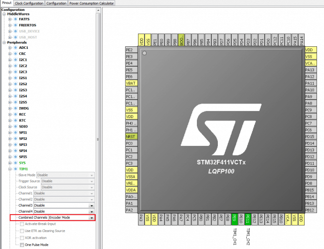 Konfiguracja timera w trybie do dekodowania sygnałów z enkodera obrotowego