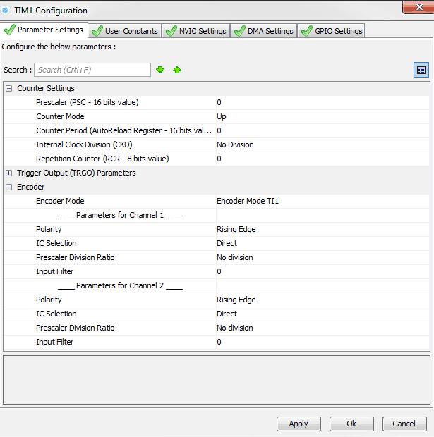 Panel konfiguracyjny timera w trybie Encoder Mode