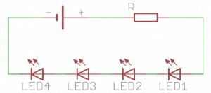 Zasilanie czterech diod LED połączonych szeregowo