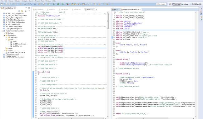 """Panel główny nakładki na Eclipse ,,System Workbench for STM32"""""""