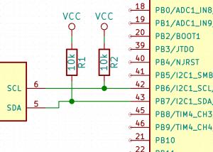 Sposób podłączenia magistrali I2C pomiędzy mikrokontrolerem a układem scalonym