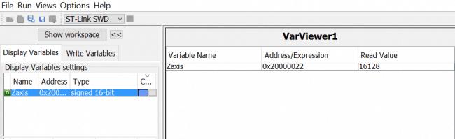Podgląd zmiennej Zaxis w programie STMStudio