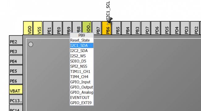 Konfiguracja wyprowadzenia PB9 jako linii danych peryferium I2C1