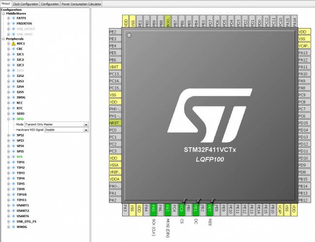 Konfiguracja mikrokontrolera do współpracy ze sterownikiem SSD1331