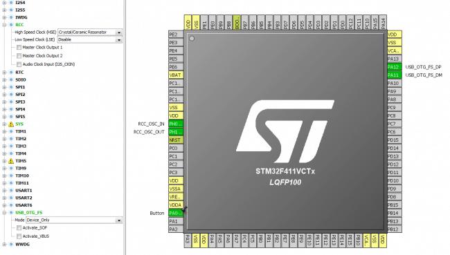 Konfiguracja mikrokontrolera do korzystania z USB