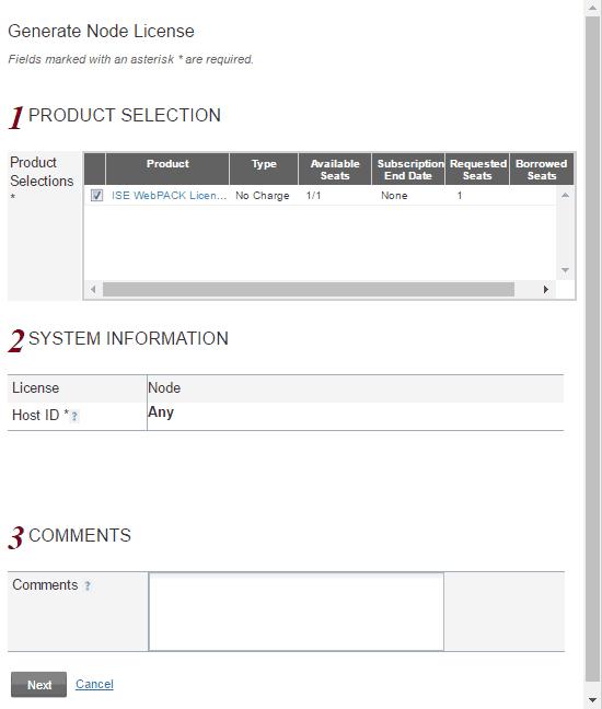 Zatwierdzanie przysłania wybranej licencji dla ISE Webpack na adres mailowy.