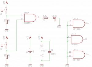 Schemat układu testującego bramkę AND.