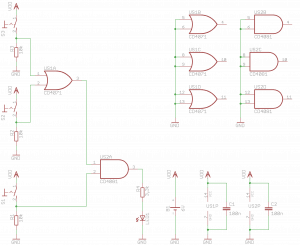 Schemat układu testującego połączenie bramek.
