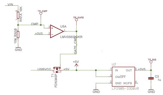Fragment schematu z komparatorem.