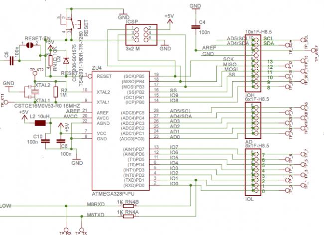 Fragment schematu Arduino z ATMega328.