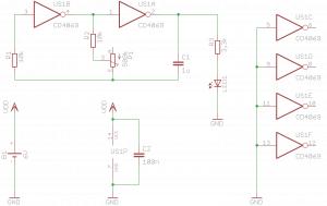 Schemat generatora z diodą LED