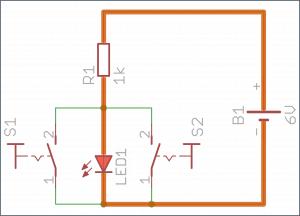 Oba przyciski puszczone – dioda świeci.