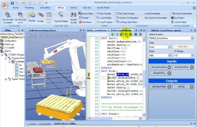 Przykładowy widok z programu RobotStudio.