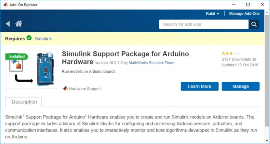 Współprace oprogramowania MATLAB i Simulink ze sprzętem zapewniają dedykowane pakiety wsparcia (Hardware Support Packages).
