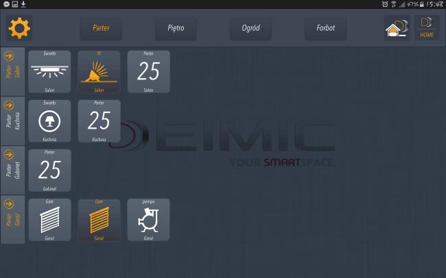 Panel aplikacji - przyciski i kontrolki.