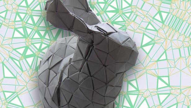 Model stanfordzkiego królika stworzony w oparciu o algorytm origami.