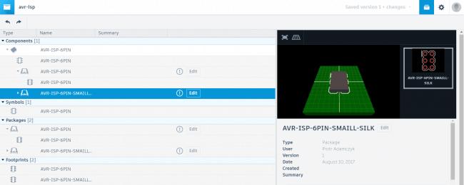 Podgląd własnego elementu w webowej bibliotece EAGLE Autodesk.