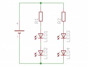 Zasilanie LED połączony równolegle po 2 w szeregu.