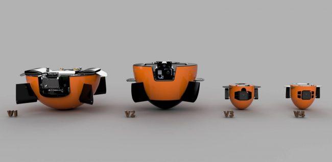 Wersja aktualna oraz przyszłe modele robota.Jego masa ma się zmniejszyć z ok. 7 kg do poniżej 1 kg.
