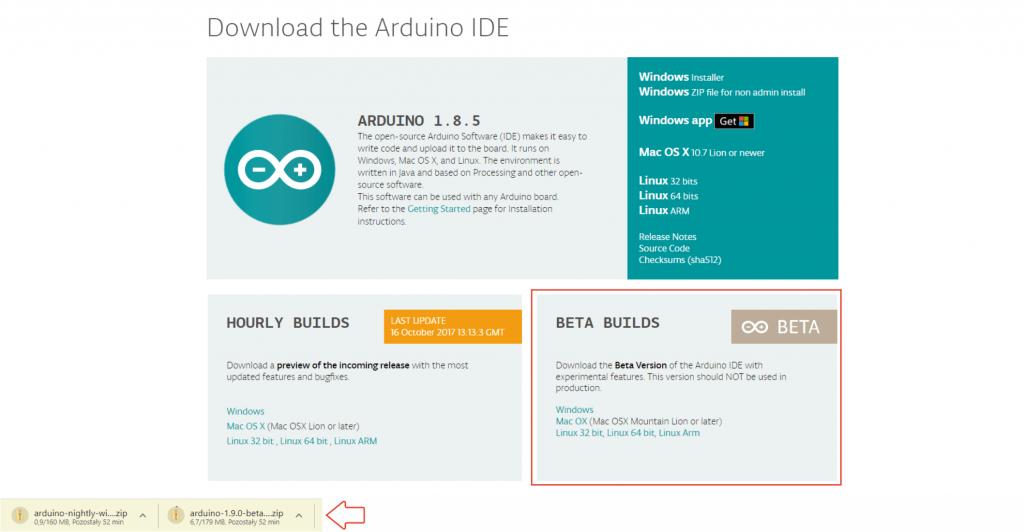 Pobieranie instalatora nowej wersji Arduino IDE.