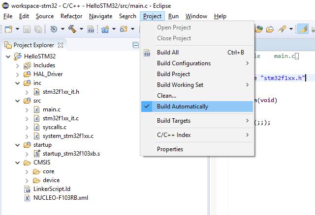 Wyłączenie automatycznej kompilacji.