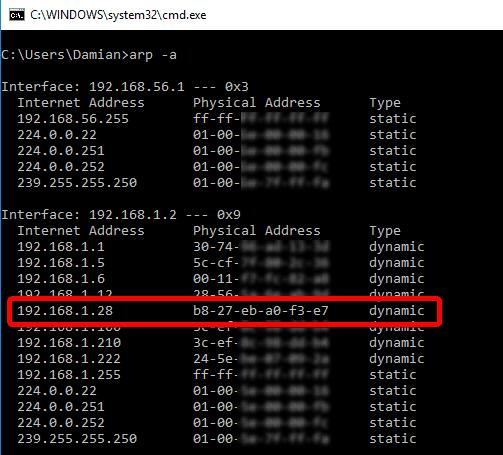 Adres IP odnaleziony z poziomu konsoli.