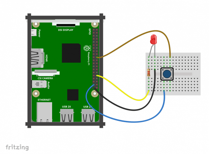 Podłączenie przycisku do Raspberry Pi.
