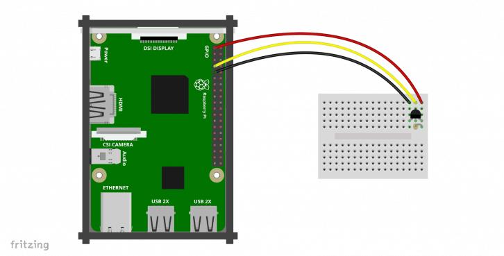 Schemat podłączenia DS18B20 do Raspberry Pi.