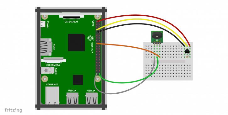 Schemat podłączenia buzzera i czujnika temperatury DS18B20.