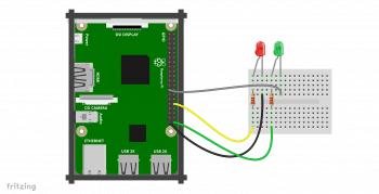 Schemat podłączenia diod do Raspberry Pi.