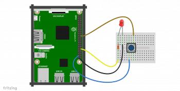 Schemat podłączenia diody i przycisku.