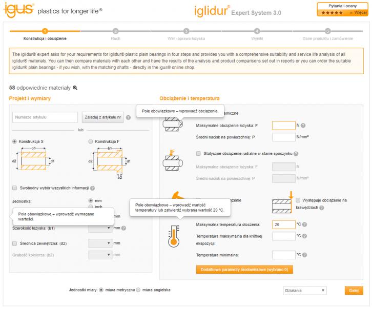 Okno narzędzia iglidur ® Expert System 3.0