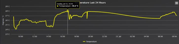 Wykres temperatury z całego dnia.