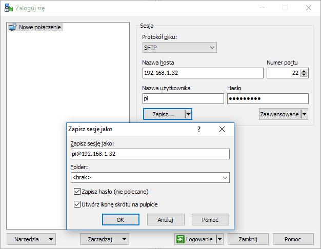 Zapisywanie nowego połączenia WinSCP z RPi.
