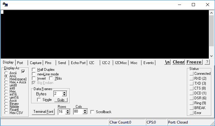 Główne okno programu RealTerm.