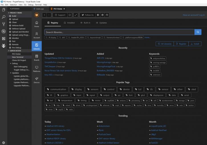 Wyszukiwarka bibliotek Arduino w PlatformIO.